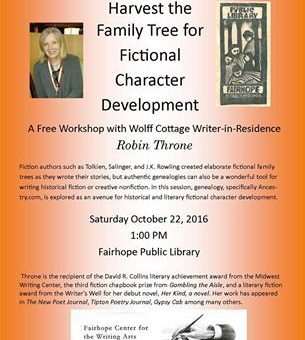 Author Workshop Oct 22: Fictional Character Development at Fairhope Public Library